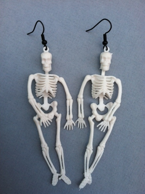 White Skeleton Earrings