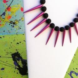Magenta Spike Necklace